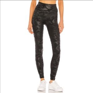 SPANX Faux Leather Black Camo Leggings Size S